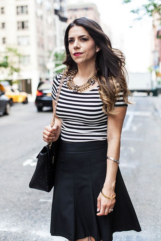 Weekend Wear | Striped Crop Top   Black A-Line Skirt | A Planned ...