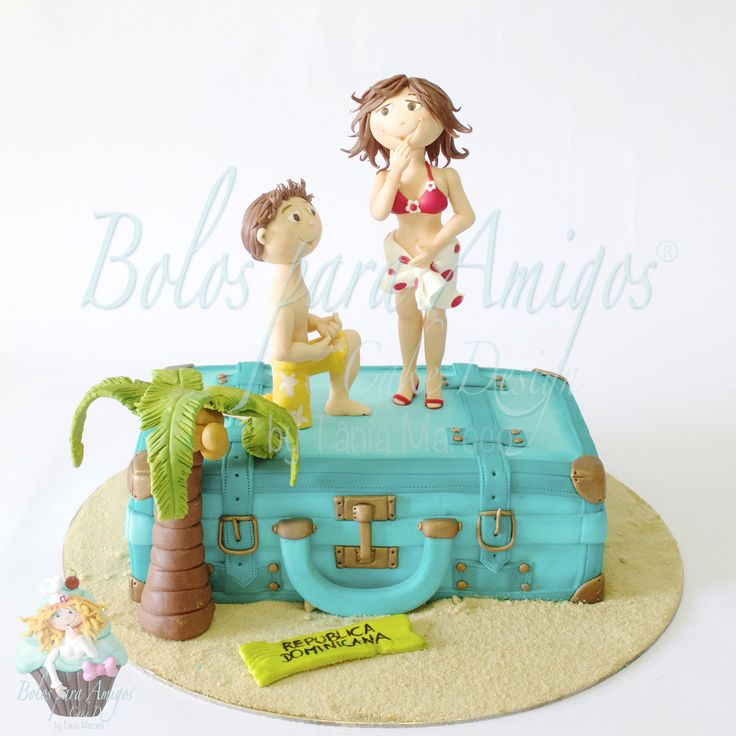 Will you marry me?... - Vintage luggage was made with cake, covered with sugar paste and painted with edible dust. Figurines are hand moulded, also with sugar paste.