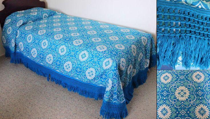 Blue Retro Floral Bedspread Single 1970s Kitsch Bedding Fringed Vintage Bed Cove