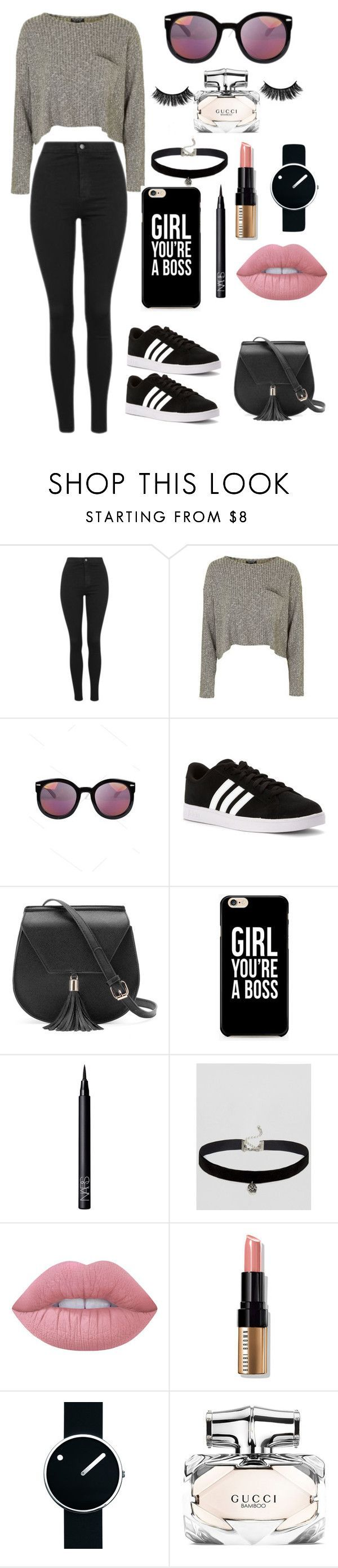 """""""Untitled #22"""" by polygirl109 ❤ liked on Polyvore featuring Topshop, adidas, Yoki, NARS Cosmetics, ASOS, Lime Crime, Bobbi Brown Cosmetics, Rosendahl and Gucci"""