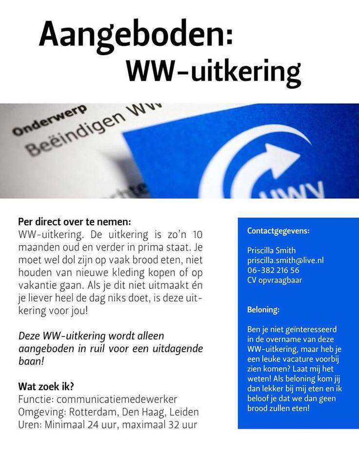 Creatief op zoek naar een nieuwe baan!   Aangeboden: WW-uitkering  #solliciteren #opvallend