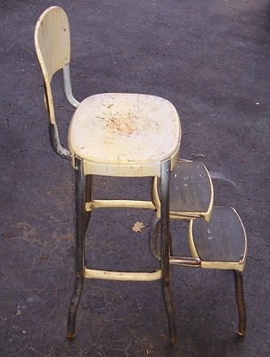 Vintage Yellow STYLAIRE (Cosco) Kitchen Chair Step Stool Retro Chrome Legs & 87 best Cosco Step Stool images on Pinterest | Kitchen stools ... islam-shia.org
