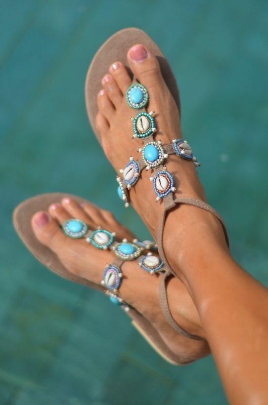 Hot Lava Blue Marlin boho sandal slippers (alleen nog 36, 38, 39!)