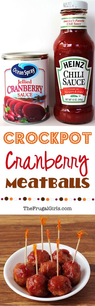 Easy Crockpot Cranberry Meatballs Recipe!  Wow your holiday guests with these crazy delicious, sweet and tangy Crock Pot Meatballs! Just 3 ingredients and always the STAR of the party!!