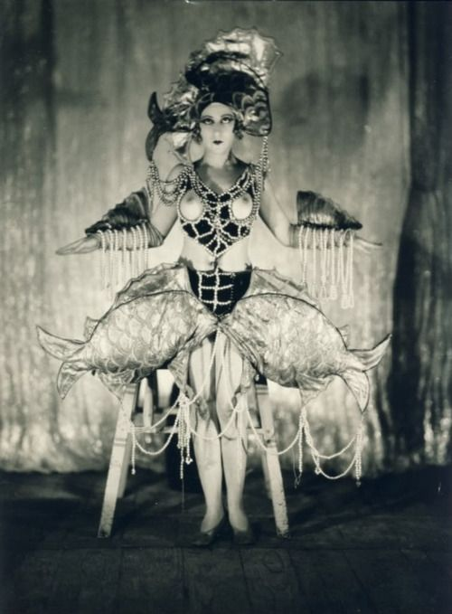 Something awfully fishy is going on here. Madamoiselle F Fouguet of the Folies Bergere. Paris. c. 1925