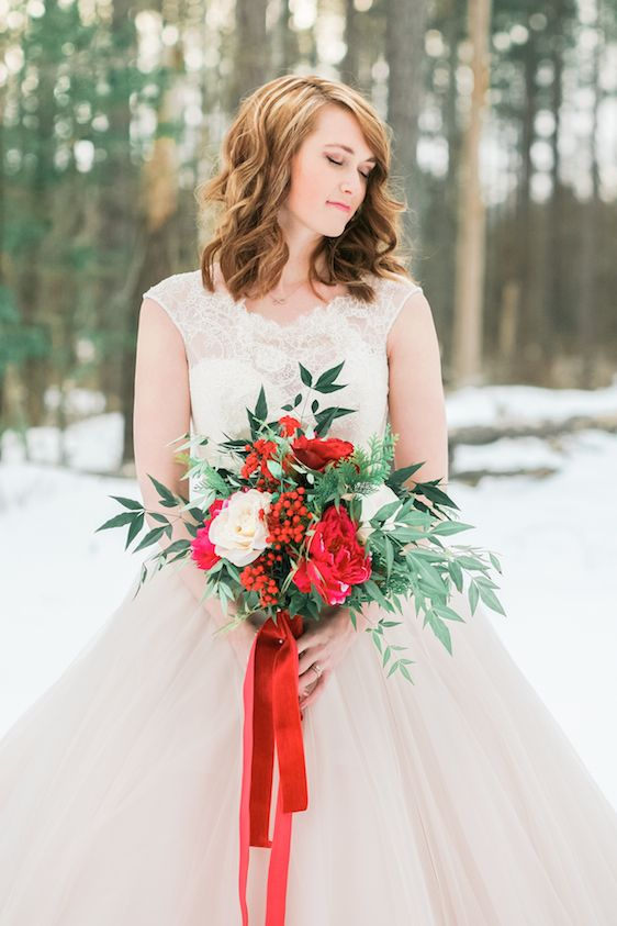 Blush and Red Velvet Snowy Bridals, Kristin Partin Photography