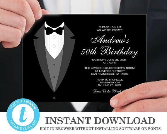 tuxedo invitation 50th birthday invitations instant download