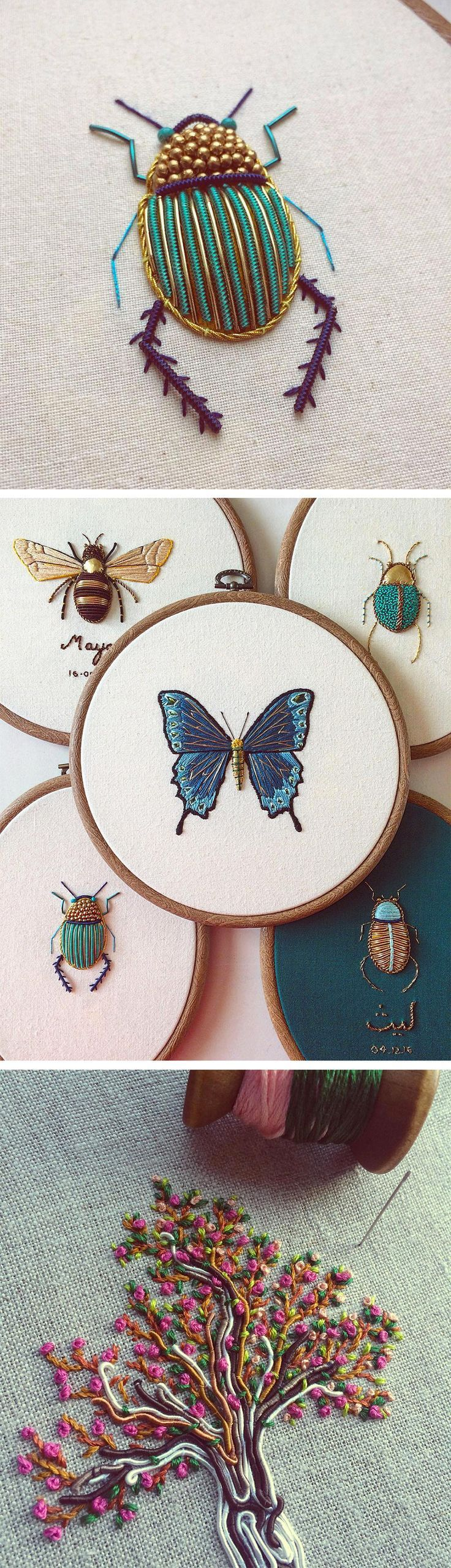 Ornate Insect Embroideries by Humayrah Bint Altaf Incorporate Antique Materials and Metallic Beads #embroidery #cbloggers #lbloggers #beading #seedbeads