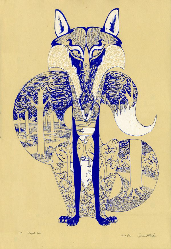 PSYCHOTROPIC ILLUSTRATIONS - Daniel Mackie. Each animals habitat is depicted within its own form, in a style influenced by traditional Japanese prints, vintage Chinese wallpaper, and Art Deco.