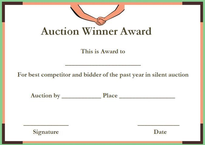 Silent Auction Winner Certificate Templates Silent Auction