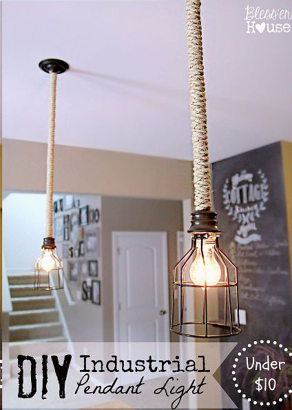 DIY Industrial Pendant Light- diy industrial pendant light, diy, lighting, repurposing upcycling