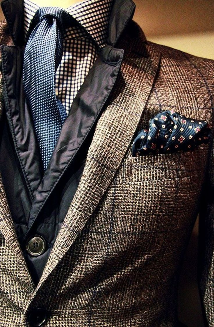 Original combo of brown checkered jacket, checkered shirt & blue tie