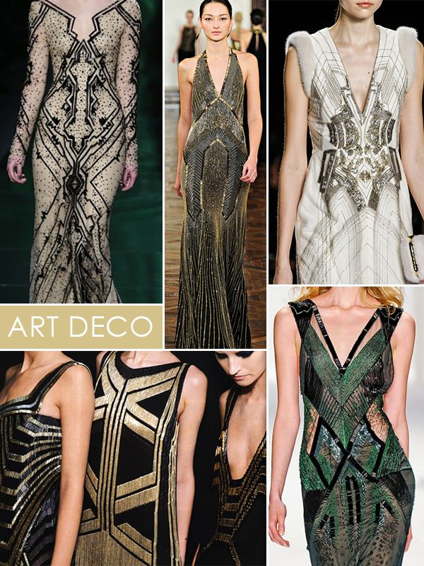 images: {row 1} Monique Lhuillier beaded gown, Ralph Lauren runway gown, J. Mendel fall runway {row 2} flapper couture, J. Mendel emerald gown Contemporary interpretation of 1920s fashion.: