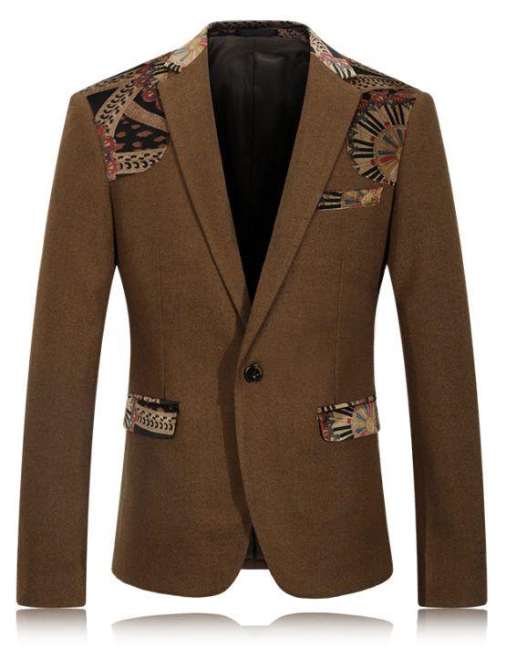 Americana Estampada Chaqueta de Traje Slim Fit Blazer para Hombre qvK8lvNg