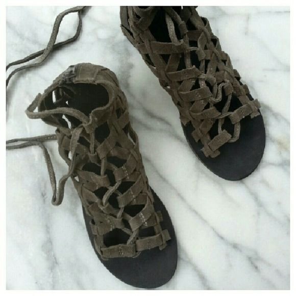 Fred People Great Lengths Sandals Gray suede lace-up flat sandals with black soles. Length 9.25, width 3.5, heel .25. New in box. Free People Shoes Sandals