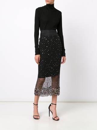 Sophie Theallet кружевная юбка с ручной вышивкой стразами