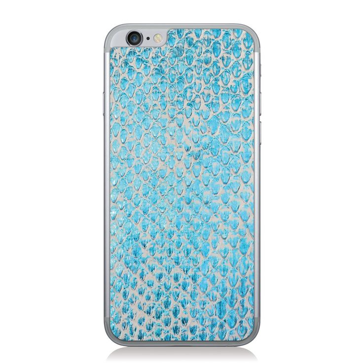 White and Blue Foil Python Skin iPhone 6/6s Leather Skin