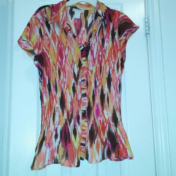 Women's Top Multi color blouse with caller never been worn in great shape. Worthington Tops