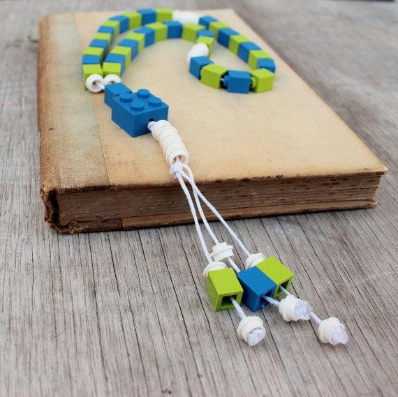 Lego Tasbih Islamic Prayer Beads - blue and green - kids boys Muslim Eid Gift