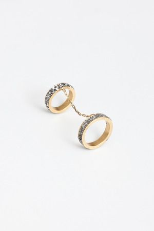 Lady Grey double chain rings with crystals