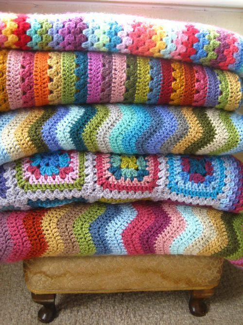 Such a pretty grouping of crochet blankets                                                                                                                                                                                 More