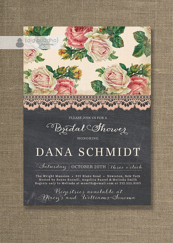 Chalkboard Lace Bridal Shower Invitation Shabby Chic Roses Rustic Pink Classic Elegant Wedding Invite Printable Digital Printed - Dana Style...