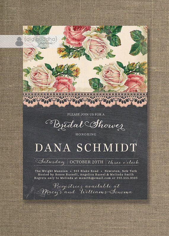 Chalkboard Lace Bridal Shower Invitation Shabby Chic Roses Rustic Pink Classic Elegant Wedding Invite Printable Digital Printed - Dana Style...