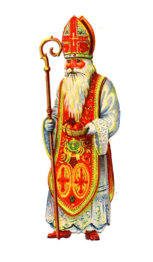 Alte Oblate Glanzbilder Scraps Nikolaus 12,5cm ...: