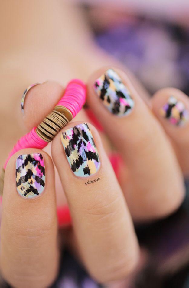 Экзотичный маникюр с узором на коротких ногтях ::: onelady.ru ::: #nail #nails #nailart #manicure