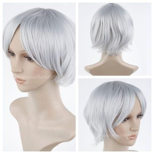These gorgeous and pretty short wigs for black women, buy wigs online and synthetic lace front wig cosplay_wigs provides here will meet your each requirement for a good free shipping>women / men anime silver white short straight hair wig natural full wigs.