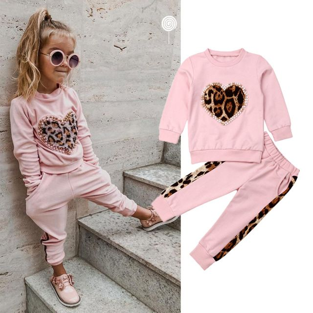 Baby Girl Boy Tracksuit Set Leopard Hooded Tops Pants Toddler Clothes Outfits