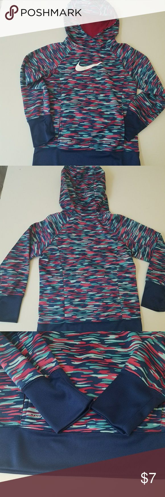 Girl's Nike Therma-FIT Fleece Hoodie Great - comfortable fit, good quality at a good price. No stains, no tears. Gentle used. Girl's Size Medium  Youth. Should fits ages 8-10 according to Nike size chart. It's a slimmer fit. Nike Shirts & Tops Sweatshirts & Hoodies