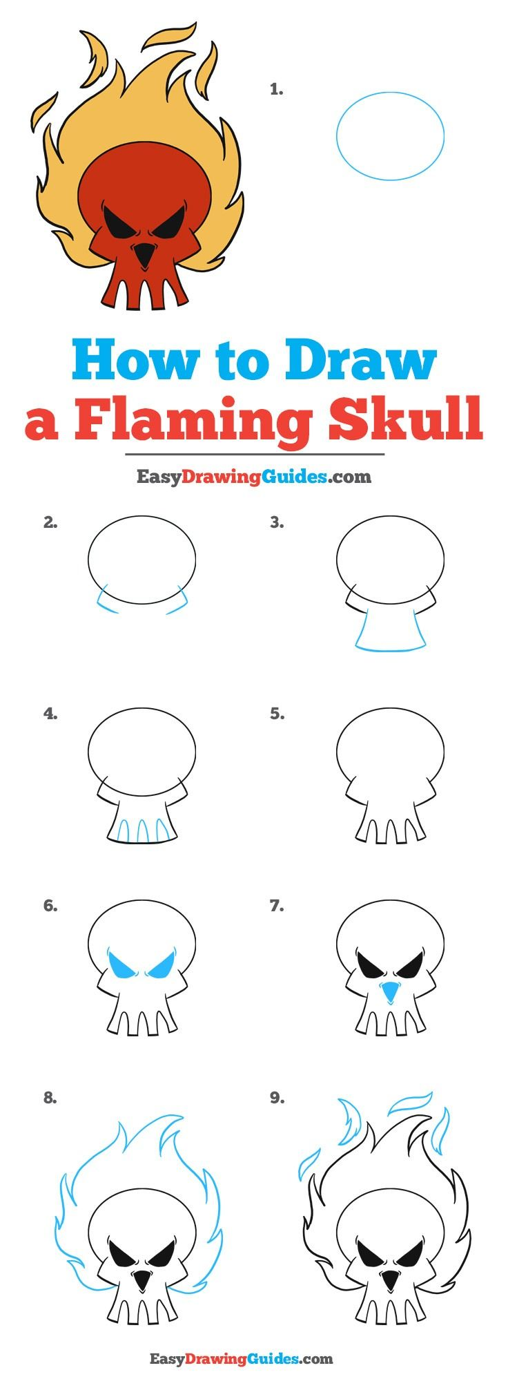Learn How to Draw a Flaming Skull: Easy Step-by-Step Drawing Tutorial for Kids and Beginners. #FlamingSkull #drawingtutorial #easydrawing See the full tutorial at https://easydrawingguides.com/how-to-draw-flaming-skull/.