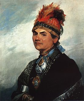 Joseph Brant, painted in London by Gilbert Stuart in 1786. - Thayendanegea alias Joseph Brant (1742 - Burlington 1807) était un chef de guerre des amérindiens Mohawk qui a combattu la France puis les États-Unis d'Amérique durant leur guerre d'indépendance. ...  Il va à l'école dans le Connecticut et visite l'Angleterre. ll est l'une des quatorze personnalités commémorées par le Monument aux Valeureux à Ottawa (Ontario). Il était franc-maçon. Wikipedia