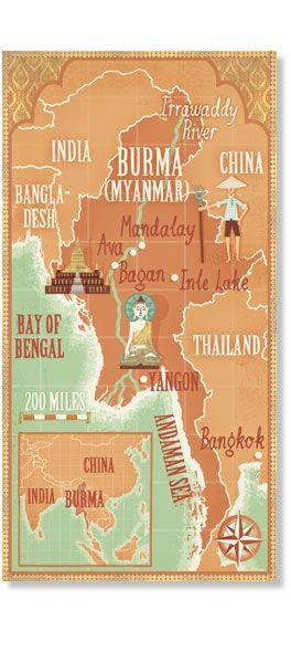 Stuart Kolakovic - Burma Myanmar map for Lonely Planet Magazine