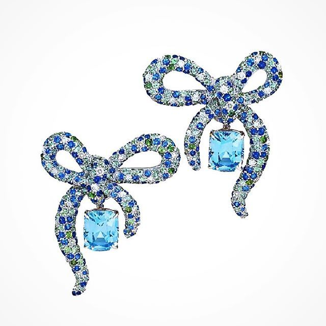Diamond, Sapphires and Aquamarine Bow Earrings with Laguna Blue Sapphire 12.62 ct drops ~ Margot McKinney