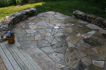 stone patioHouse Originals, Gardens Ideas, Fields Stones, Rocks Patios, Stones Patios, Back Yards, Granite Patios, Backyards Ideas, Backyards Inspiration
