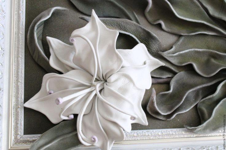 Купить Вечер - панно, картина, цветы, белые цветы, белые лилии, картина в подарок
