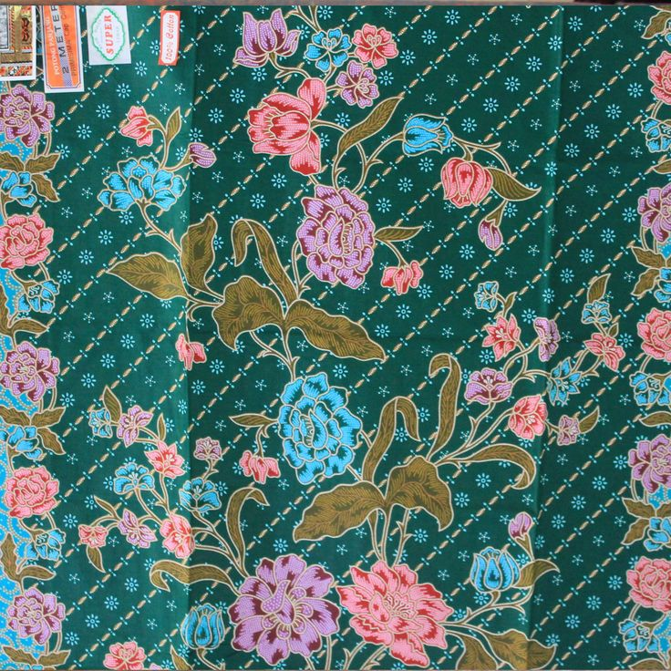 Turqouise flowers pure cotton traditional by TheThailand on Etsy