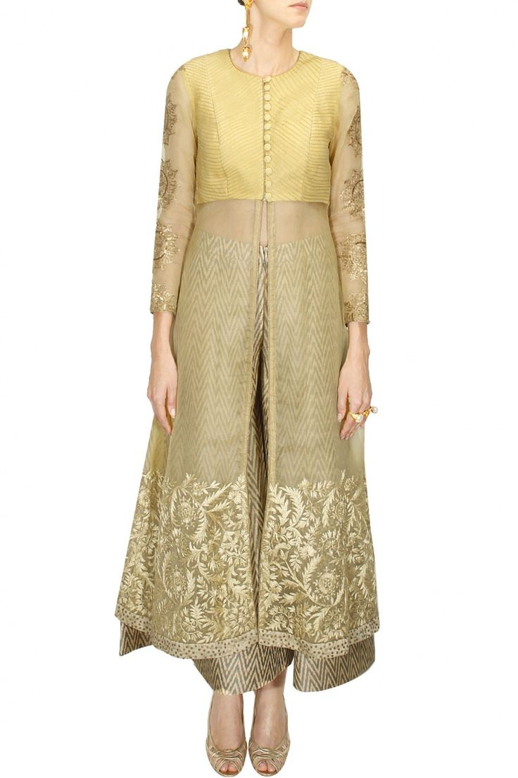 INTRODUCING : Beige embroidered organza jacket with grey ikat sharara by Anoli Shah. Shop at www.perniaspopups...