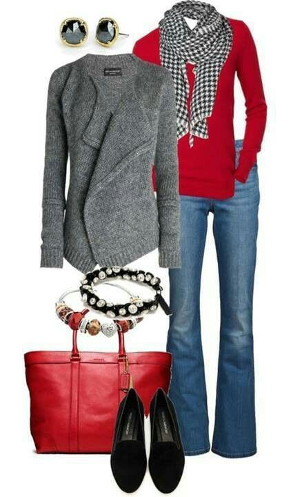 love the red and gray sweaters and bootcut jeans, also love the purse, not into the jewelry. would do a scarf but not a checked one