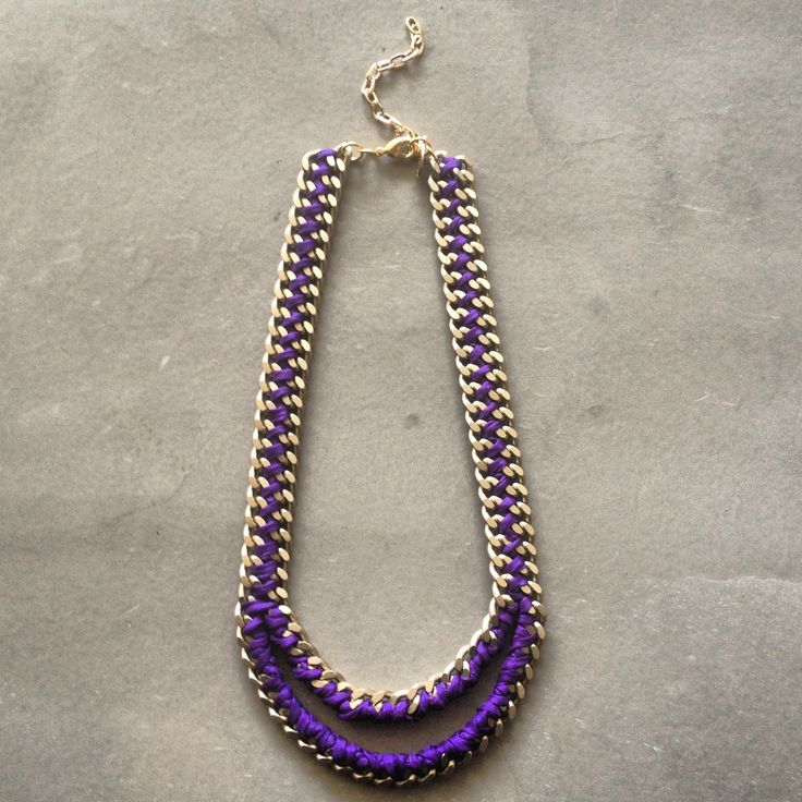 The Mouth necklace in purple and matte gold chain by Hermina wristwear and more