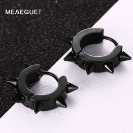Meaeguet Unisex Black Gothic Punk Stud Earrings