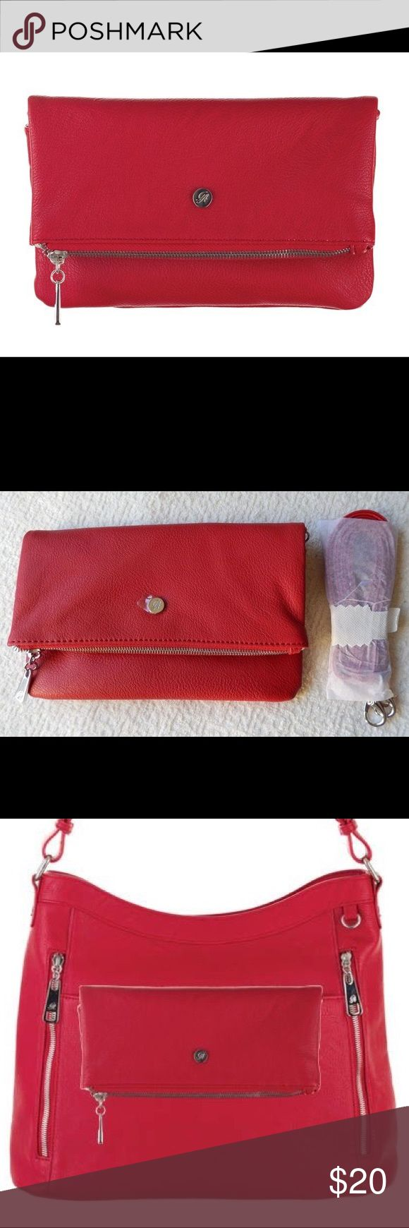 Grace Adele Claire Scarlet Clutch Brand New! Never out of the package.  Scarlet (Red) faux leather clutch. Fold over style super cute! Grace Adele Bags Clutches & Wristlets