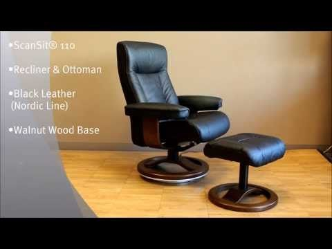 Scansit 110 Ergonomic Leather Recliner Chair + Ottoman Scandinavian Norwegian Lounge Chair. Hjellegjerde Norwegian Recliner Chair Lounger - Fjords Scandinavian Recliners, Stressless Chairs, Stressless Sofas and other Ergonomic Furniture.