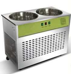 Commercial Fried ice machine with Double pot single control single compressor, double pan fried ice cream machine