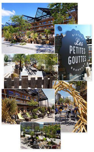 La terrasse la plus surprenante : Les Petites Gouttes Les Petites Gouttes, 12 Esplanade Nathalie Sarraute, Paris 18ème. Ouvert du Lundi au Dimanche de 11h à 2h.