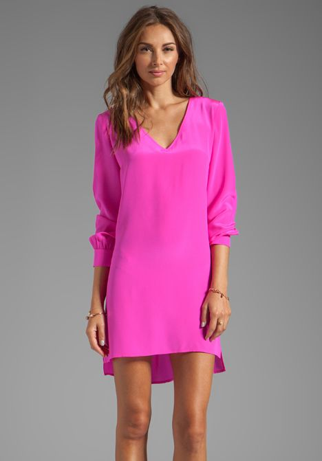 Amanda Uprichard V Neck Dress In Hot Pink