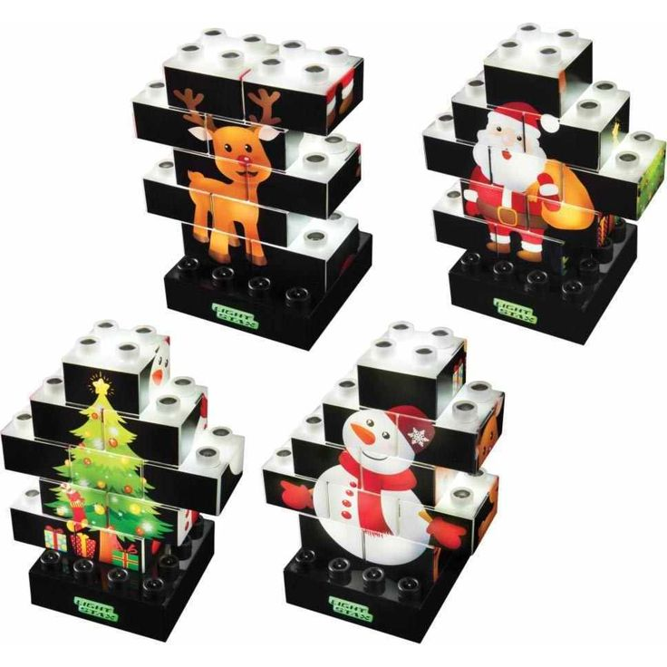 Supergave special edition Light Stax. Met deze 10-delige set maak je een mooi verlicht kerst tafereel. Eigenlijk is het een puzzel en kun telkens weer een andere maken want iedere zijde van een blokje heeft een andere print! Maak dus een kerstboom, sneeuwpop, kerstman of rendier.    Inclusief basis die werkt op batterijtjes, als eindresultaat dus ook nog een mooi lampje!