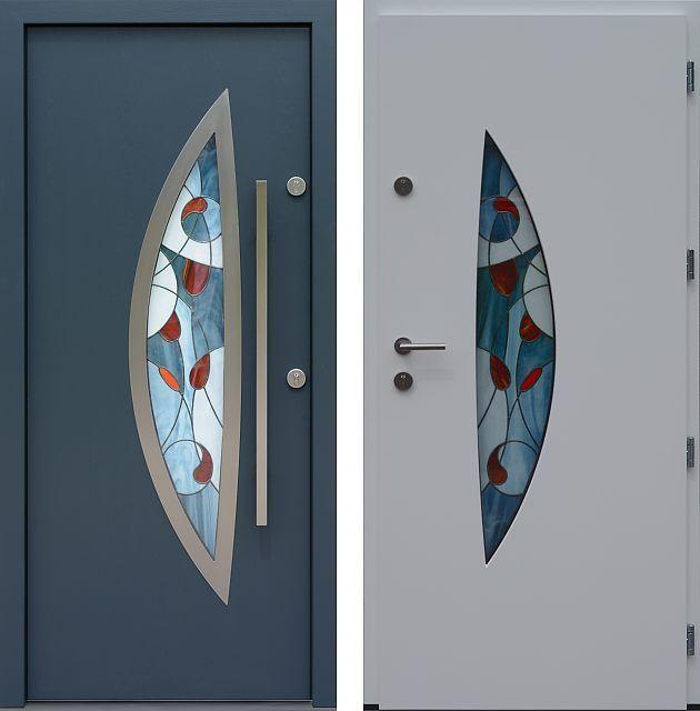Drzwi wejściowe z aplikacjamii ze stali nierdzewnej inox wzór 412,1-412,11+ds58 antracyt + białe
